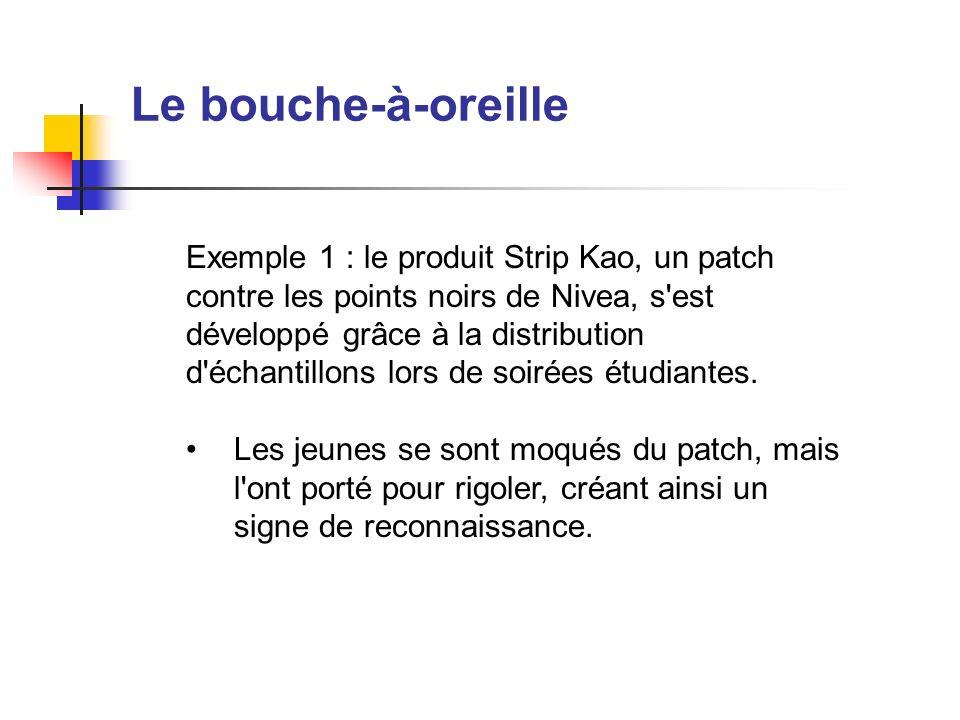 Le bouche-à-oreille Exemple 1 : le produit Strip Kao, un patch contre les points noirs de Nivea, s'est développé grâce à la distribution d'échantillon