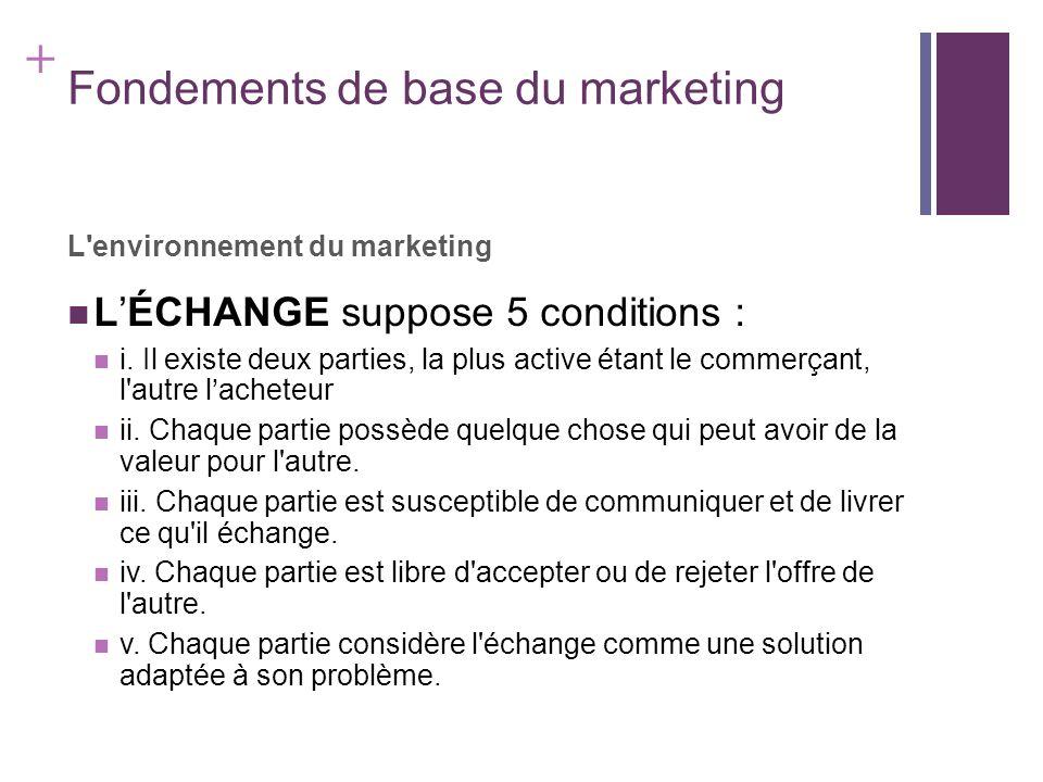 + Fondements de base du marketing L'environnement du marketing LÉCHANGE suppose 5 conditions : i. Il existe deux parties, la plus active étant le comm