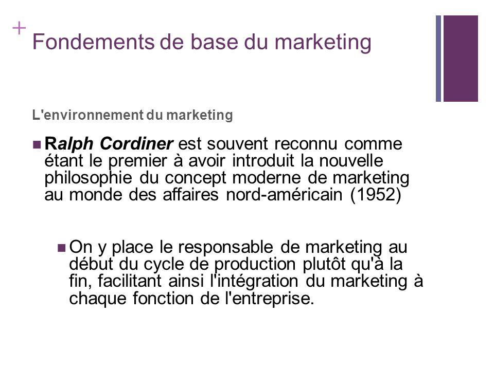 + Fondements de base du marketing L'environnement du marketing Ralph Cordiner est souvent reconnu comme étant le premier à avoir introduit la nouvelle