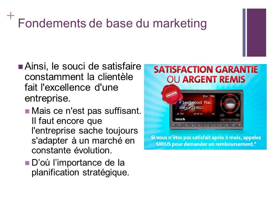 + Fondements de base du marketing Ainsi, le souci de satisfaire constamment la clientèle fait l'excellence d'une entreprise. Mais ce n'est pas suffisa