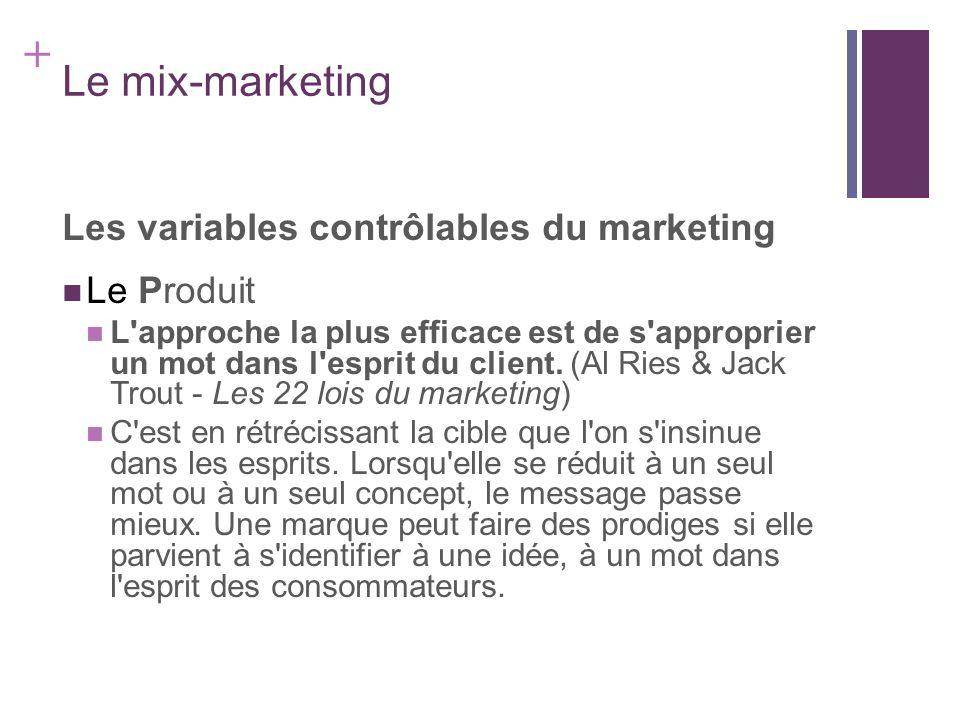 + Le mix-marketing Les variables contrôlables du marketing Le Produit L'approche la plus efficace est de s'approprier un mot dans l'esprit du client.