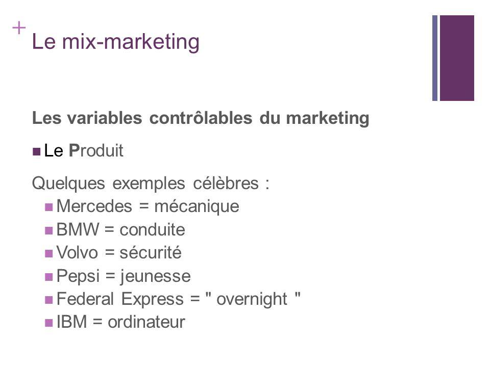 + Le mix-marketing Les variables contrôlables du marketing Le Produit Quelques exemples célèbres : Mercedes = mécanique BMW = conduite Volvo = sécurit