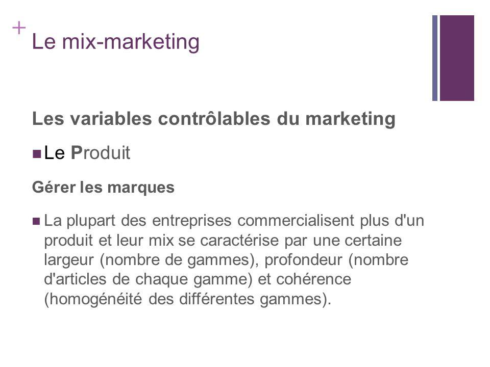 + Le mix-marketing Les variables contrôlables du marketing Le Produit Gérer les marques La plupart des entreprises commercialisent plus d'un produit e