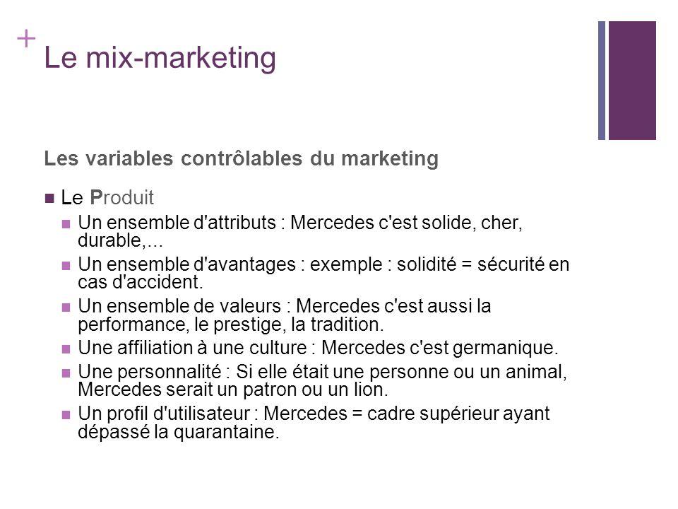 + Le mix-marketing Les variables contrôlables du marketing Le Produit Un ensemble d'attributs : Mercedes c'est solide, cher, durable,... Un ensemble d
