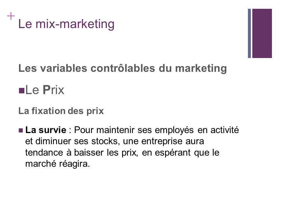+ Le mix-marketing Les variables contrôlables du marketing Le Prix La fixation des prix La survie : Pour maintenir ses employés en activité et diminue