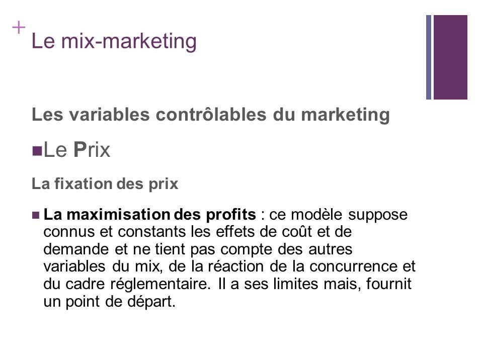 + Le mix-marketing Les variables contrôlables du marketing Le Prix La fixation des prix La maximisation des profits : ce modèle suppose connus et cons