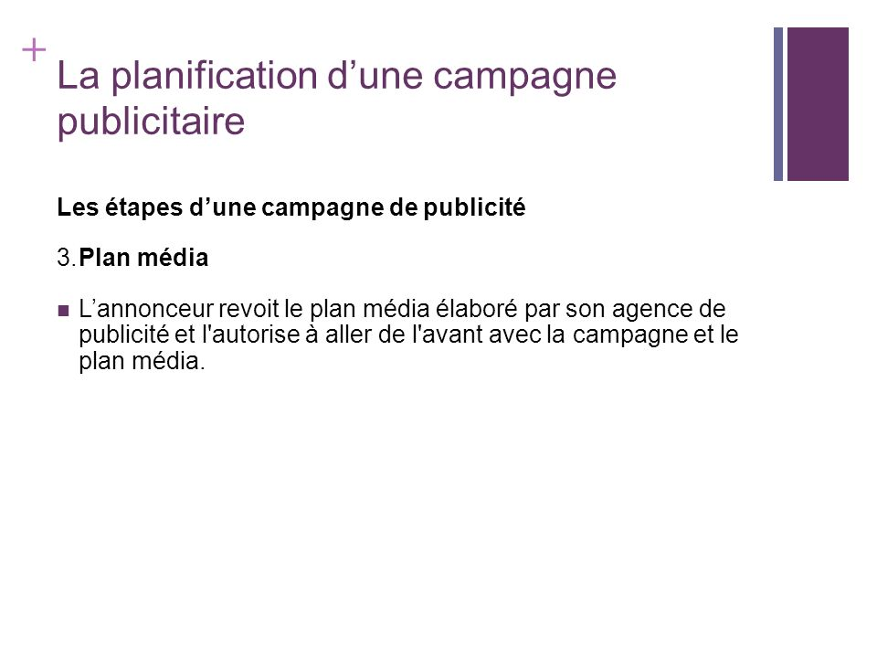 + La planification dune campagne publicitaire Les étapes dune campagne de publicité 3.Plan média Lannonceur revoit le plan média élaboré par son agenc