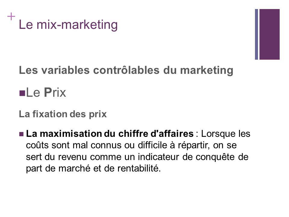 + Le mix-marketing Les variables contrôlables du marketing Le Prix La fixation des prix La maximisation du chiffre d'affaires : Lorsque les coûts sont