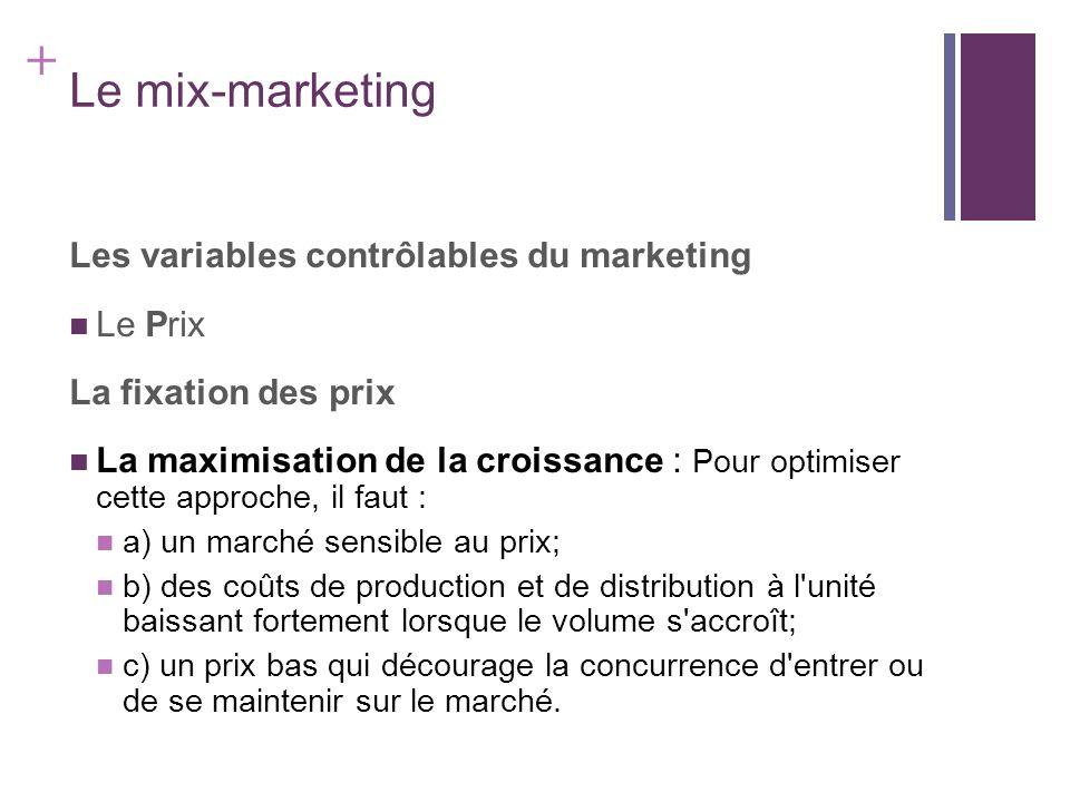 + Le mix-marketing Les variables contrôlables du marketing Le Prix La fixation des prix La maximisation de la croissance : Pour optimiser cette approc