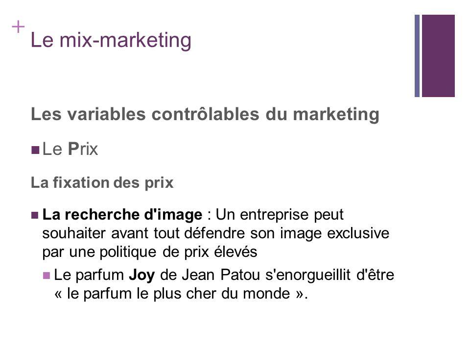 + Le mix-marketing Les variables contrôlables du marketing Le Prix La fixation des prix La recherche d'image : Un entreprise peut souhaiter avant tout
