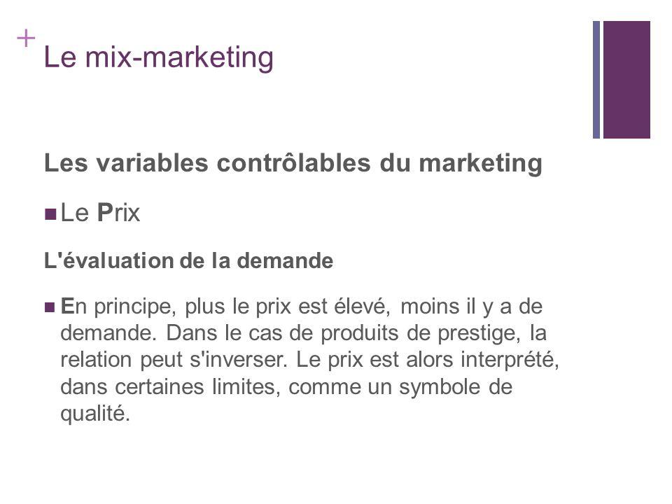 + Le mix-marketing Les variables contrôlables du marketing Le Prix L'évaluation de la demande En principe, plus le prix est élevé, moins il y a de dem