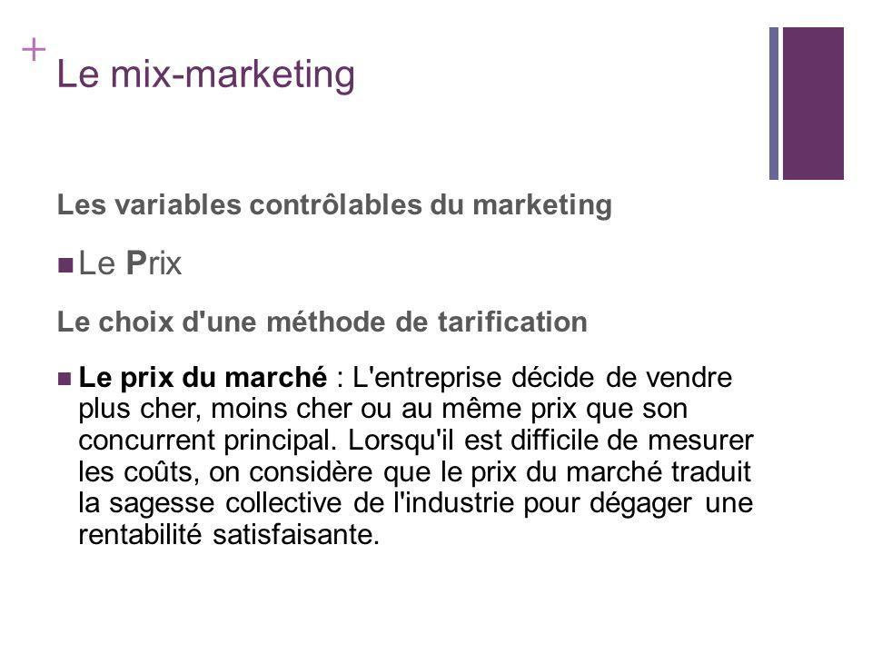 + Le mix-marketing Les variables contrôlables du marketing Le Prix Le choix d'une méthode de tarification Le prix du marché : L'entreprise décide de v