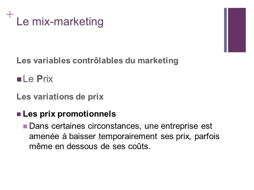 + Le mix-marketing Les variables contrôlables du marketing Le Prix Les variations de prix Les prix promotionnels Dans certaines circonstances, une ent