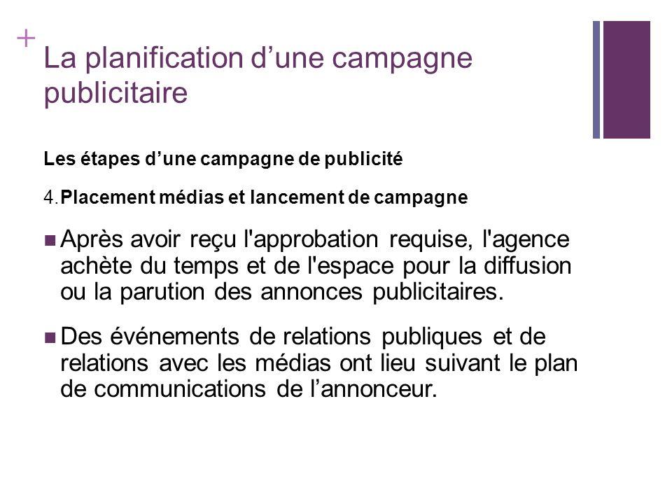+ La planification dune campagne publicitaire Les étapes dune campagne de publicité 5.Évaluation Lannonceur et lagence font évaluer l impact et la valeur de la campagne publicitaire.