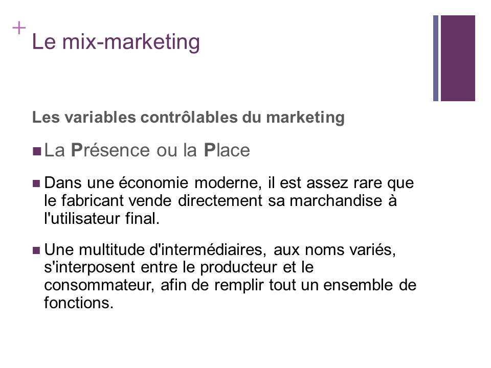 + Le mix-marketing Les variables contrôlables du marketing La Présence ou la Place Dans une économie moderne, il est assez rare que le fabricant vende