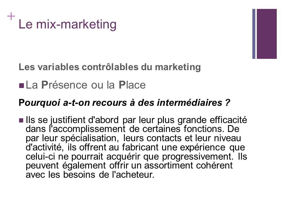 + Le mix-marketing Les variables contrôlables du marketing La Présence ou la Place Pourquoi a-t-on recours à des intermédiaires ? Ils se justifient d'