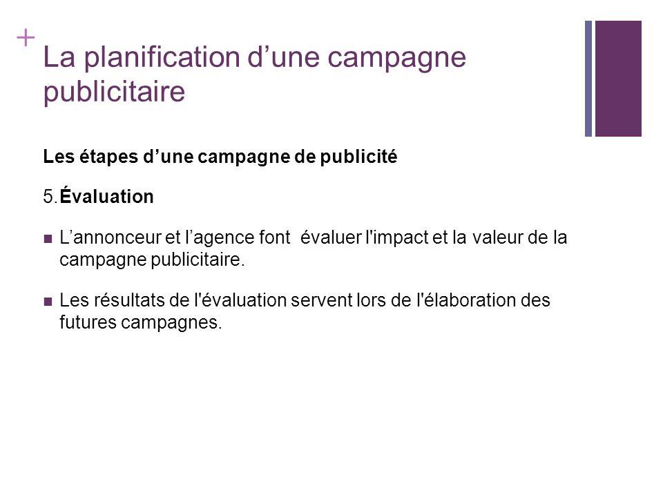 + La planification dune campagne publicitaire Les étapes dune campagne de publicité 5.Évaluation Lannonceur et lagence font évaluer l'impact et la val