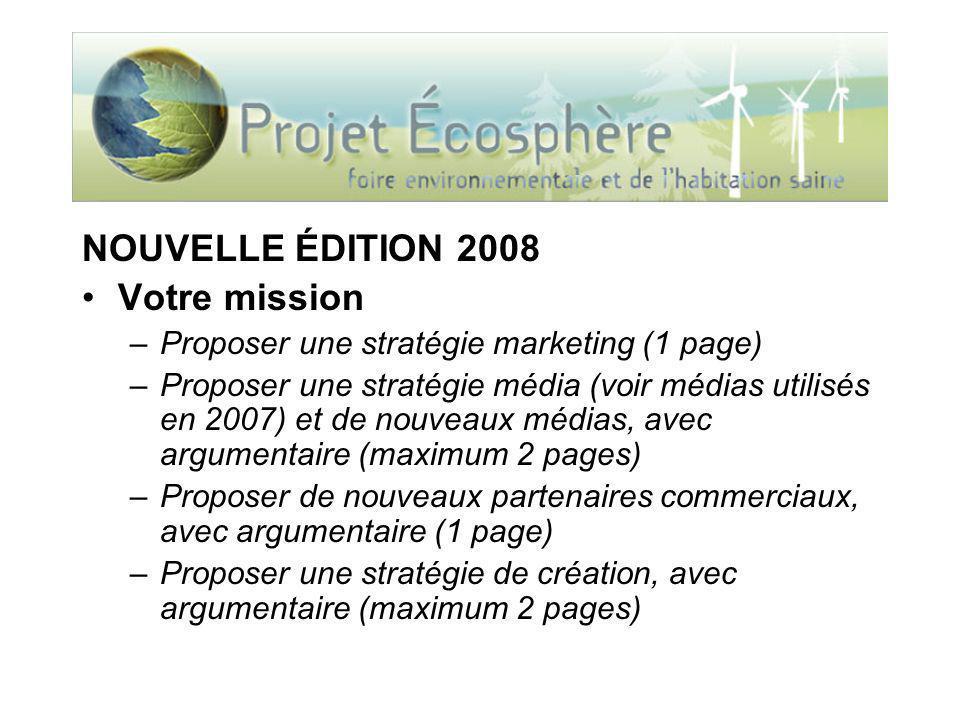 NOUVELLE ÉDITION 2008 Votre mission –Proposer une stratégie marketing (1 page) –Proposer une stratégie média (voir médias utilisés en 2007) et de nouv