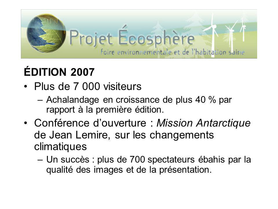 ÉDITION 2007 Plus de 7 000 visiteurs –Achalandage en croissance de plus 40 % par rapport à la première édition. Conférence douverture : Mission Antarc
