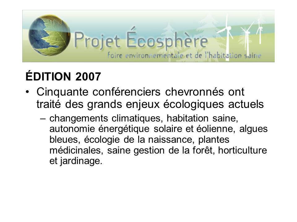 ÉDITION 2007 Cinquante conférenciers chevronnés ont traité des grands enjeux écologiques actuels –changements climatiques, habitation saine, autonomie