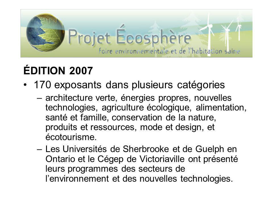 ÉDITION 2007 170 exposants dans plusieurs catégories –architecture verte, énergies propres, nouvelles technologies, agriculture écologique, alimentation, santé et famille, conservation de la nature, produits et ressources, mode et design, et écotourisme.