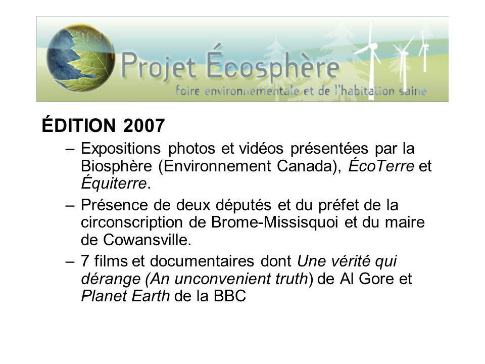 ÉDITION 2007 –Expositions photos et vidéos présentées par la Biosphère (Environnement Canada), ÉcoTerre et Équiterre. –Présence de deux députés et du