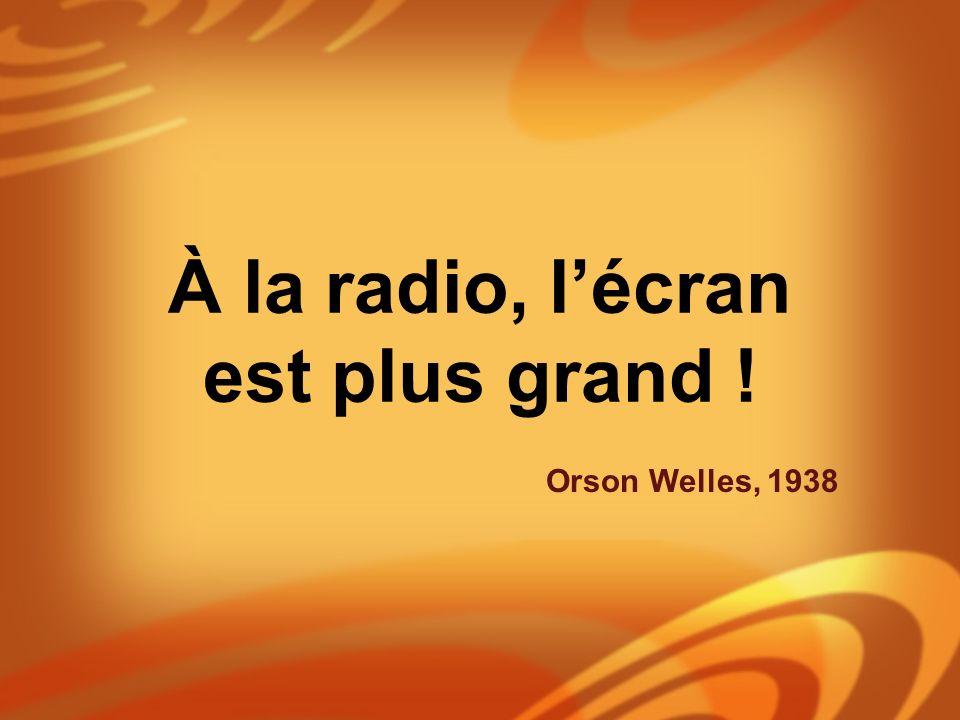 À la radio, lécran est plus grand ! Orson Welles, 1938