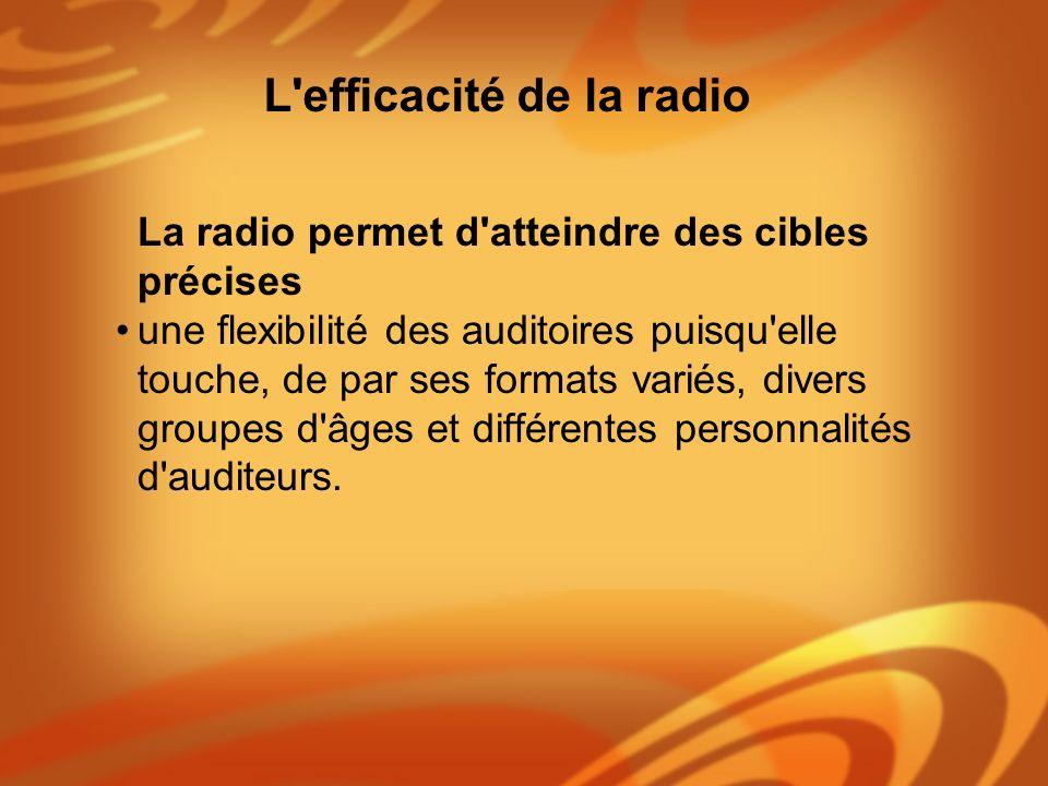 La radio permet d'atteindre des cibles précises une flexibilité des auditoires puisqu'elle touche, de par ses formats variés, divers groupes d'âges et