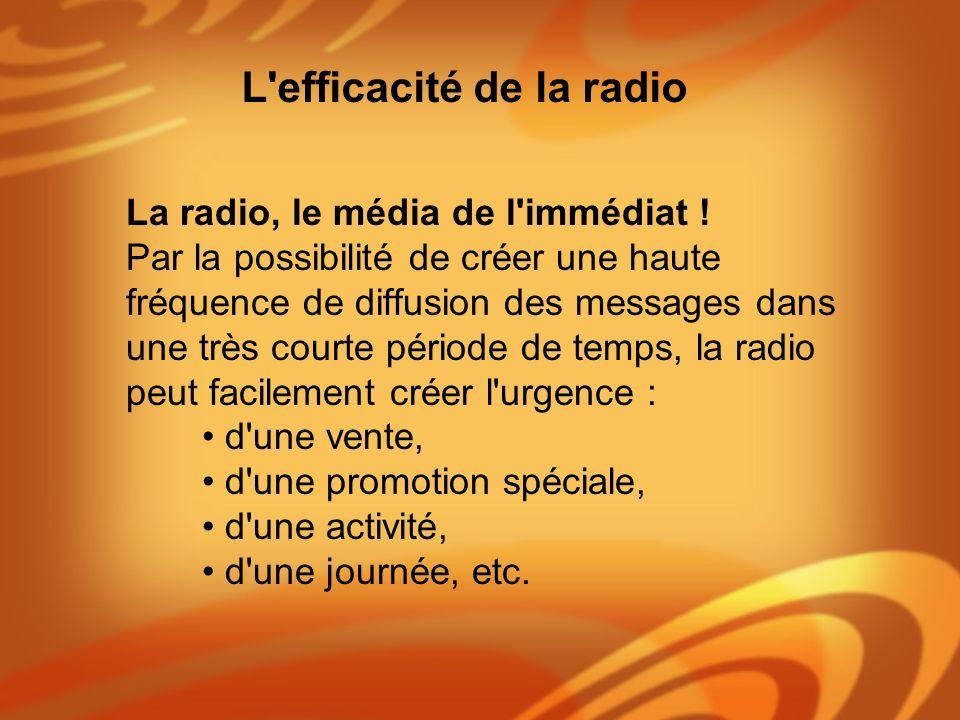 La radio, le média de l'immédiat ! Par la possibilité de créer une haute fréquence de diffusion des messages dans une très courte période de temps, la