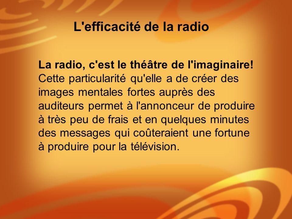 La radio, c'est le théâtre de l'imaginaire! Cette particularité qu'elle a de créer des images mentales fortes auprès des auditeurs permet à l'annonceu