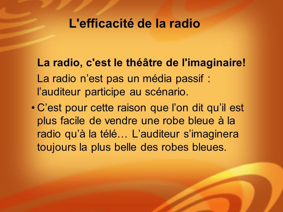 La radio, c'est le théâtre de l'imaginaire! La radio nest pas un média passif : lauditeur participe au scénario. Cest pour cette raison que lon dit qu