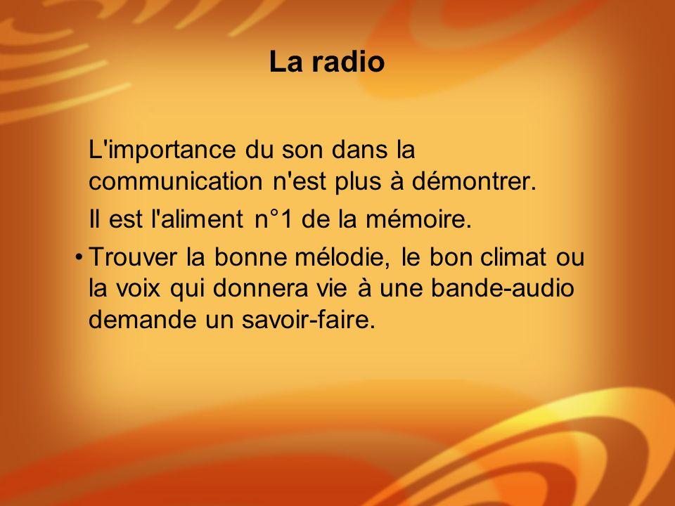 L'importance du son dans la communication n'est plus à démontrer. Il est l'aliment n°1 de la mémoire. Trouver la bonne mélodie, le bon climat ou la vo