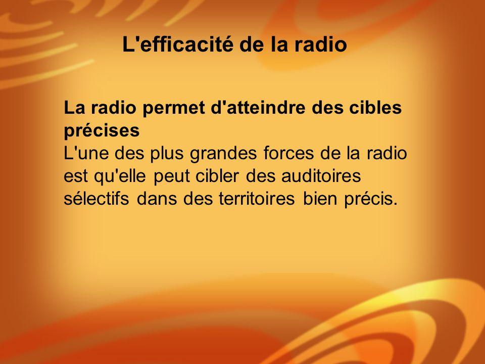 La radio permet d'atteindre des cibles précises L'une des plus grandes forces de la radio est qu'elle peut cibler des auditoires sélectifs dans des te
