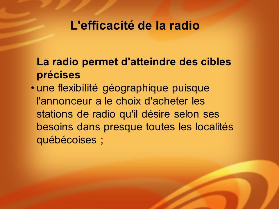 La radio permet d'atteindre des cibles précises une flexibilité géographique puisque l'annonceur a le choix d'acheter les stations de radio qu'il dési