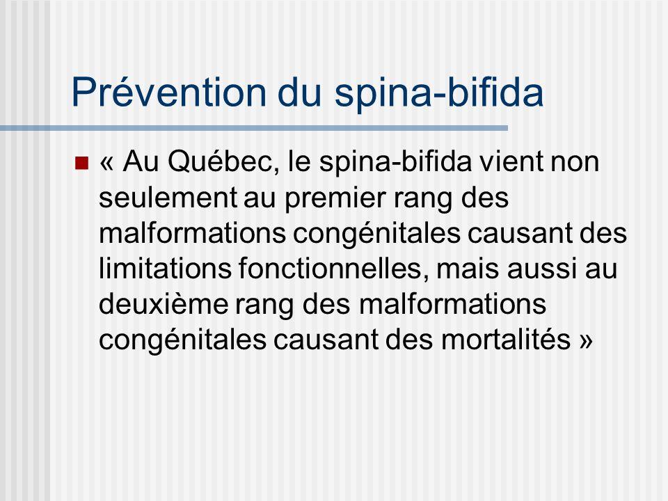 Prévention du spina-bifida « Au Québec, le spina-bifida vient non seulement au premier rang des malformations congénitales causant des limitations fonctionnelles, mais aussi au deuxième rang des malformations congénitales causant des mortalités »
