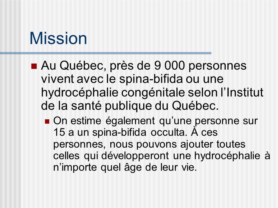 Objectifs Informer les personnes touchées par le spina-bifida ou lhydrocéphalie sur toutes questions pertinentes à ces déficiences Favoriser le développement de services dans toutes les régions du Québecp Sensibiliser la population au spina-bifida et à ses mesures de prévention