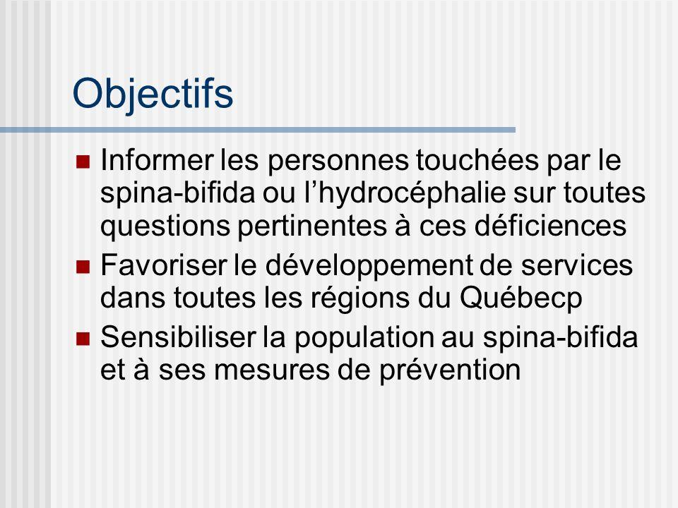 Objectifs Informer les personnes touchées par le spina-bifida ou lhydrocéphalie sur toutes questions pertinentes à ces déficiences Favoriser le dévelo