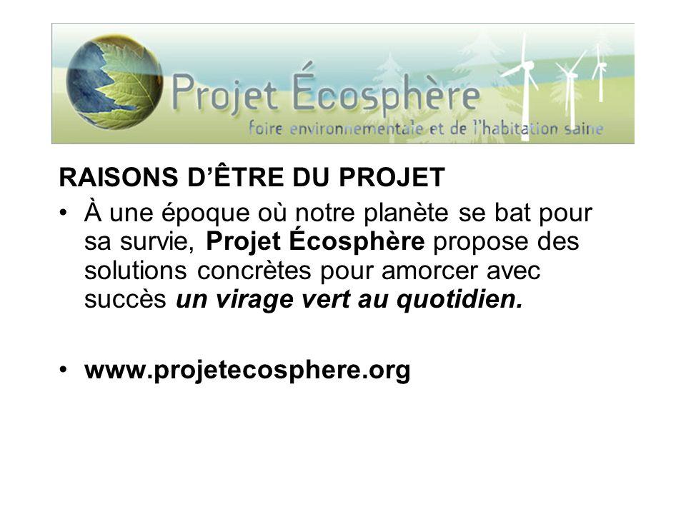 RAISONS DÊTRE DU PROJET À une époque où notre planète se bat pour sa survie, Projet Écosphère propose des solutions concrètes pour amorcer avec succès un virage vert au quotidien.