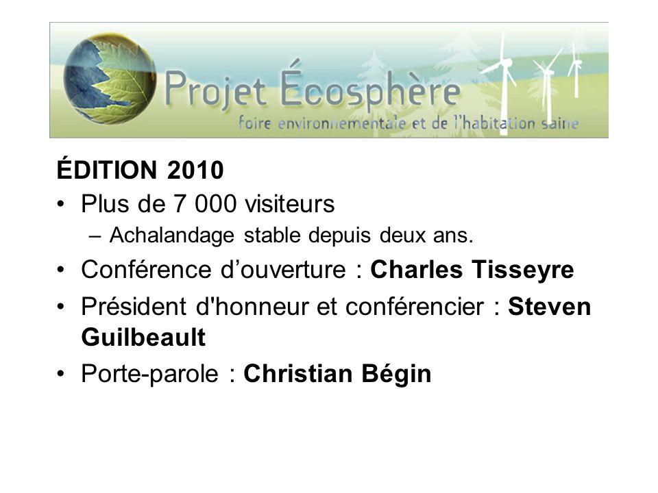 ÉDITION 2010 Plus de 7 000 visiteurs –Achalandage stable depuis deux ans. Conférence douverture : Charles Tisseyre Président d'honneur et conférencier