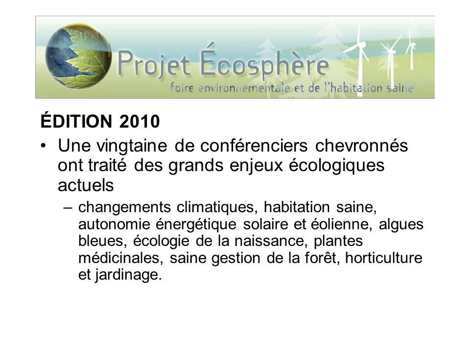 ÉDITION 2010 170 exposants dans plusieurs catégories –architecture verte, énergies propres, nouvelles technologies, agriculture écologique, alimentation, santé et famille, conservation de la nature, produits et ressources, mode et design, et écotourisme.
