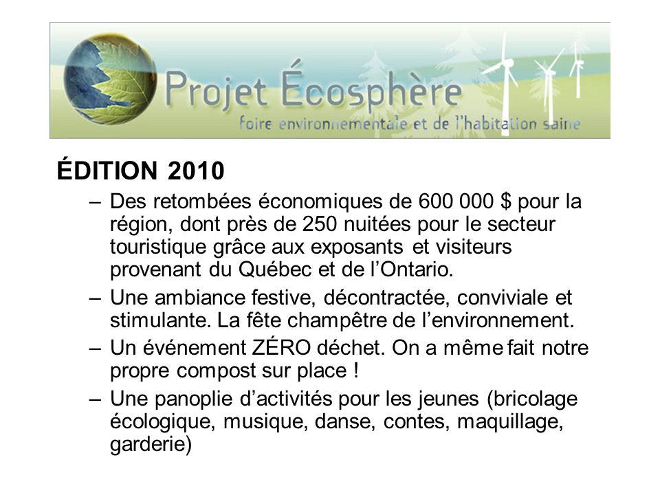 ÉDITION 2010 –Des retombées économiques de 600 000 $ pour la région, dont près de 250 nuitées pour le secteur touristique grâce aux exposants et visit