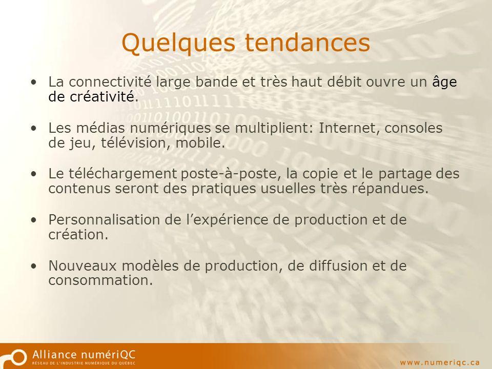 Quelques tendances La connectivité large bande et très haut débit ouvre un âge de créativité.