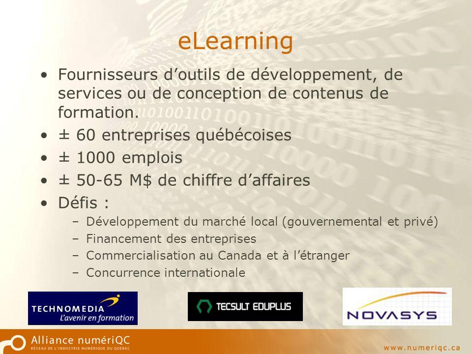 eLearning Fournisseurs doutils de développement, de services ou de conception de contenus de formation.