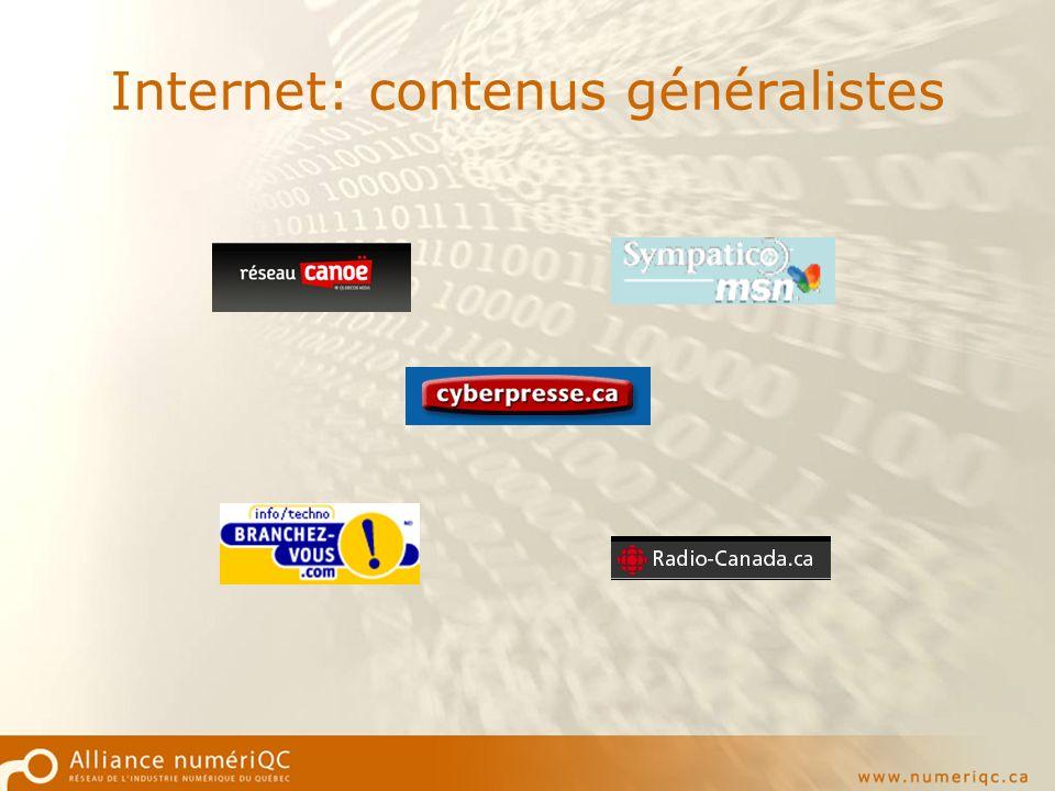 Internet: contenus généralistes