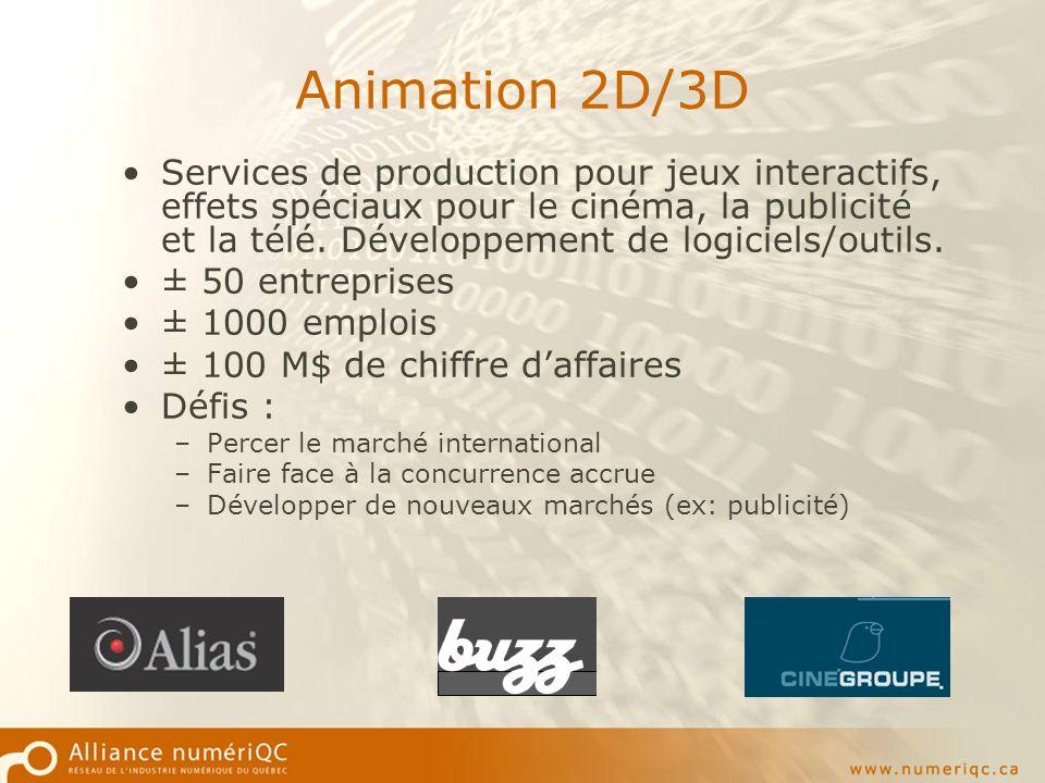 Animation 2D/3D Services de production pour jeux interactifs, effets spéciaux pour le cinéma, la publicité et la télé.