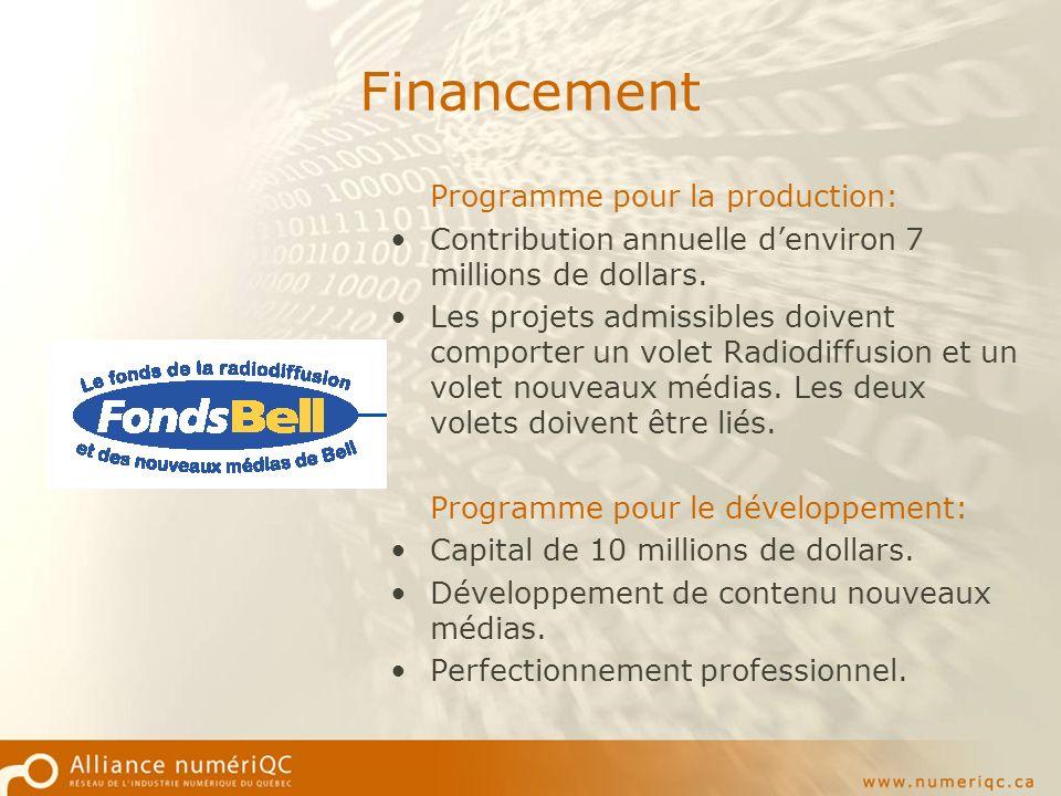 Financement Programme pour la production: Contribution annuelle denviron 7 millions de dollars.