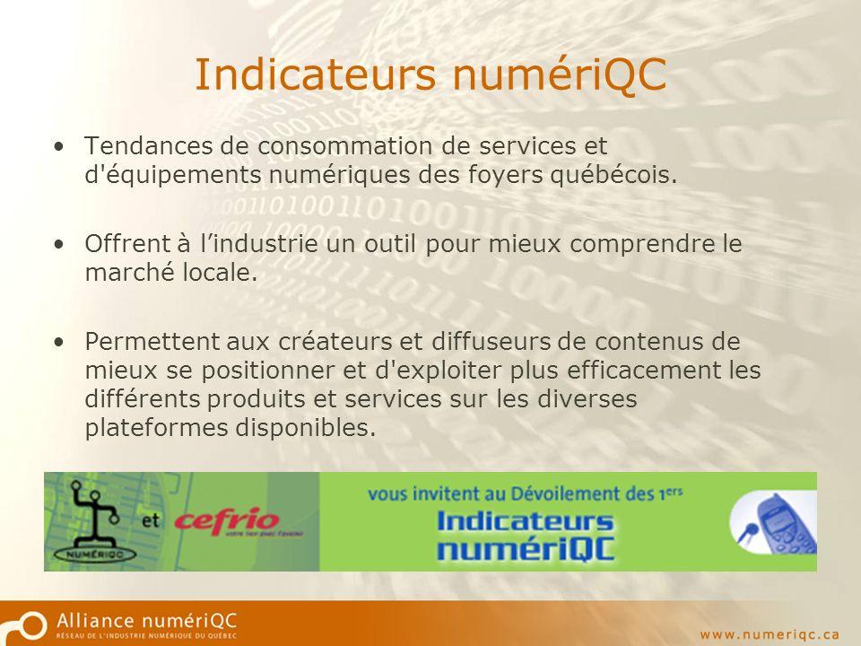 Indicateurs numériQC Tendances de consommation de services et d équipements numériques des foyers québécois.
