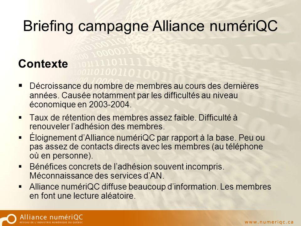 Briefing campagne Alliance numériQC Contexte Décroissance du nombre de membres au cours des dernières années.