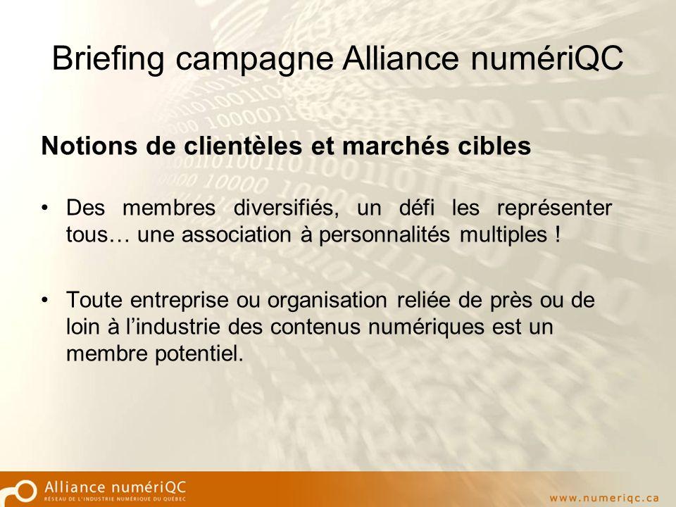 Briefing campagne Alliance numériQC Notions de clientèles et marchés cibles Des membres diversifiés, un défi les représenter tous… une association à personnalités multiples .