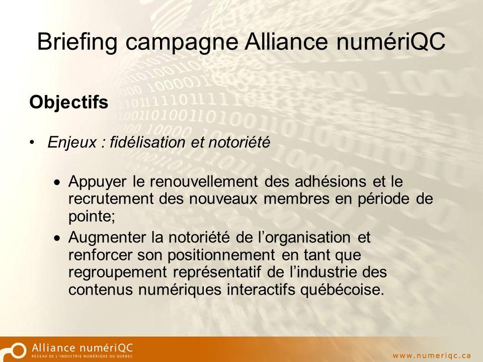 Briefing campagne Alliance numériQC Objectifs Enjeux : fidélisation et notoriété Appuyer le renouvellement des adhésions et le recrutement des nouveaux membres en période de pointe; Augmenter la notoriété de lorganisation et renforcer son positionnement en tant que regroupement représentatif de lindustrie des contenus numériques interactifs québécoise.
